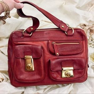 Authentic Tods Cranberry Red Tote W Pockets